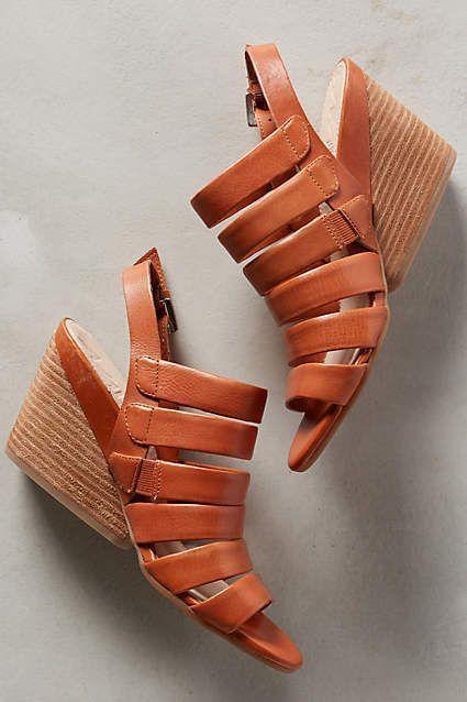 Anthropologie Naya Lassie Strappy Wedge Sandals 8 Caramel Brown Fantastic! #Naya #PlatformsWedges #Casual