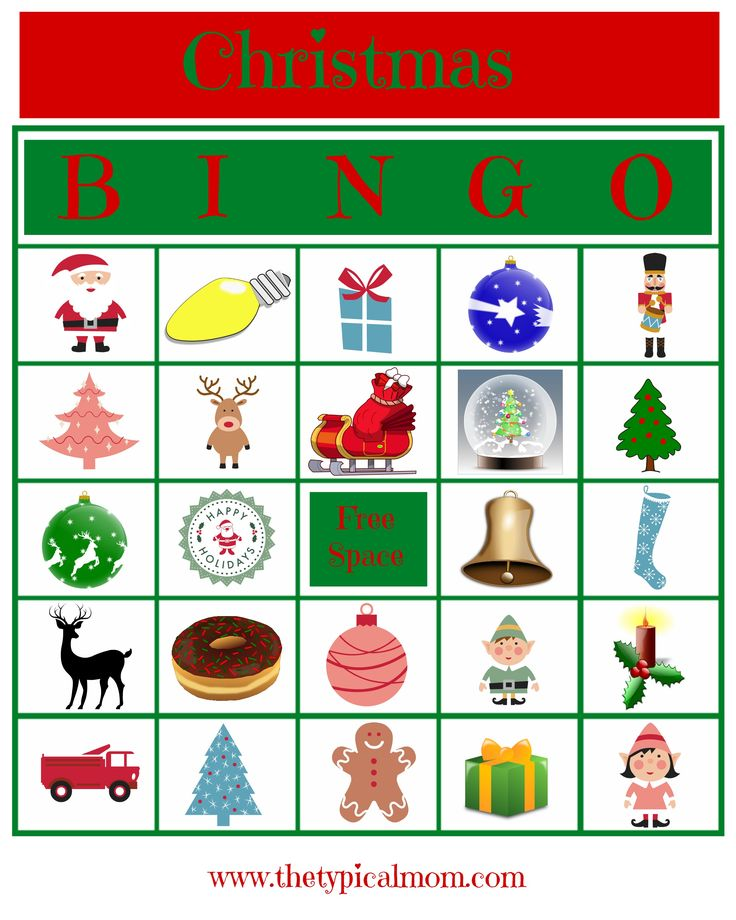 Here's a really cute free Christmas Bingo printable card you can play during the holidays or in the classroom, tons of other holiday free printables too. via @thetypicalmom