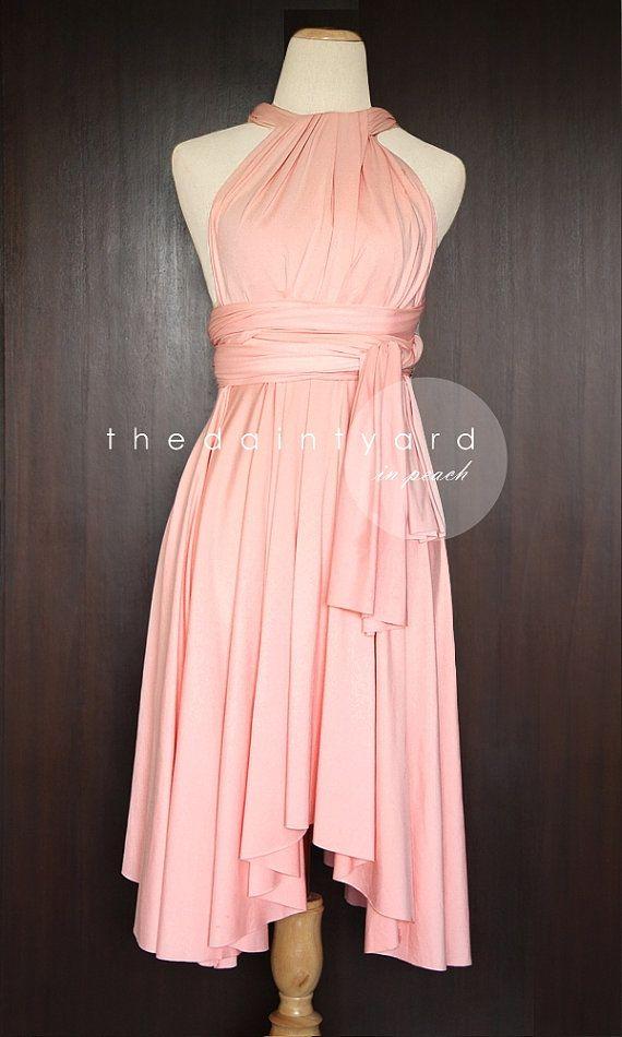 Peach Bridesmaid Convertible Dress Infinity Dress Multiway Dress Wrap Dress Wedding Dress Light Apricot Pastel