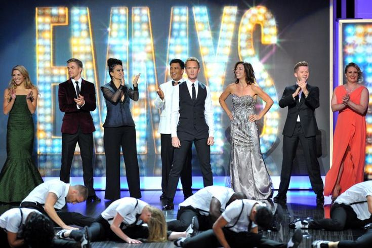 Allison Holker, Derek Hough, Sonya Tayeh, Napoeon Dumo, Neil Patrick Harris, Tabitha Dumo, Travis Wall, and Mandy Moore on stage #Emmy2013