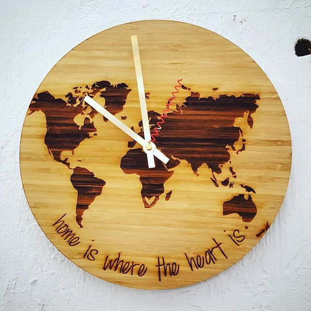 We are making some new clock designs this week. Yay!! ♡♡ #bamboo #clock #africa #worldmap #madeinpringlebay #rosegold #wood #lasercut #heart #home #southafrica #time #ecofriendly #homedecor #decor #quoteoftheday #quote #africamap #map #engraved #wearethemakers #new #capetown #stellenbosch #root44market #hallojane