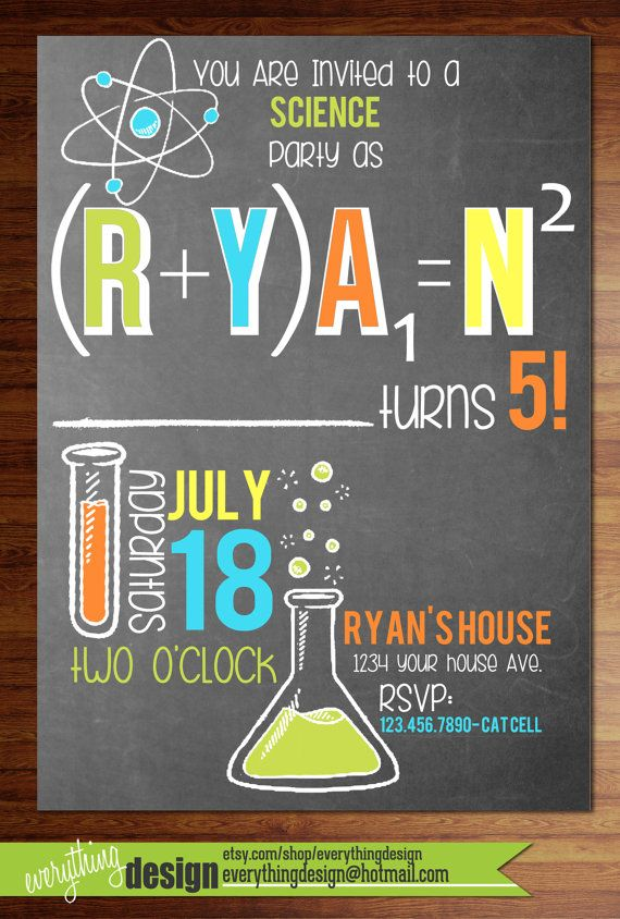 Custom printed science party invitations by everythingdesign