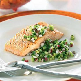 Pan fried salmon with cucumber salad