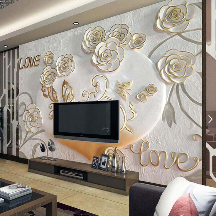Embossed Rose Butterfly Mural Photo Wallpaper Living Room Wall Art Decor Wall Paper papier peint 3d papel tapiz para paredes 3 d #Affiliate