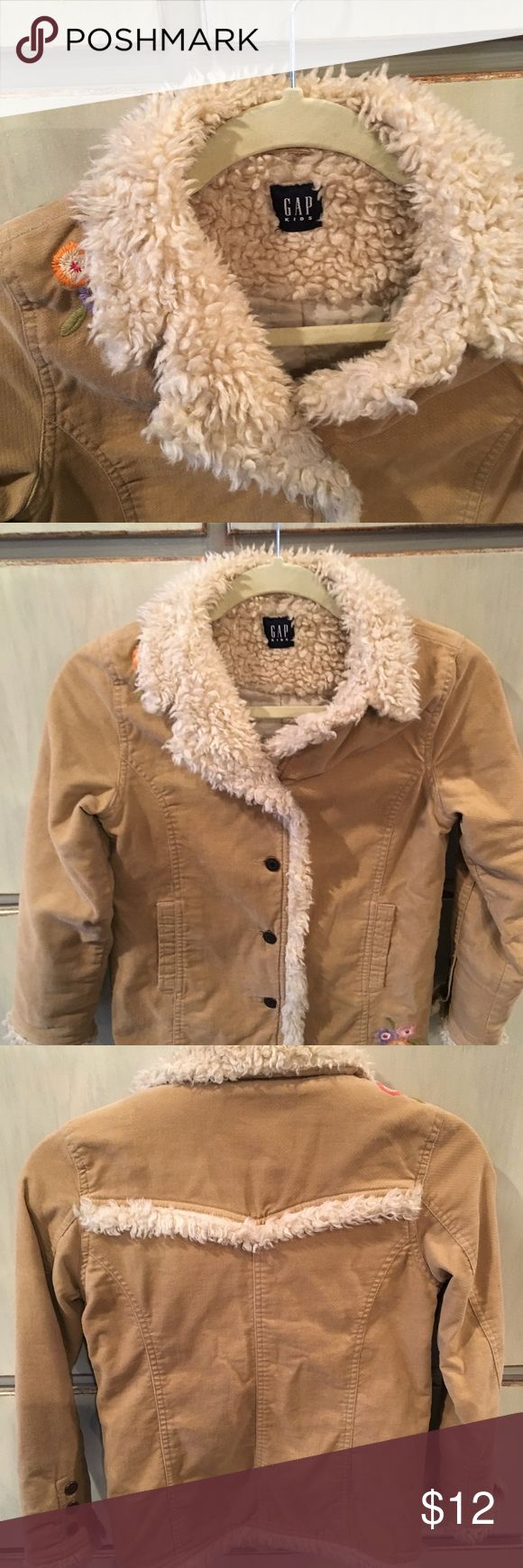 GAP coat Adorable girls GAP coat.  Cute flower stitching and soft fur-like edging.  Gently used...EXCELLENT condition!  Size 6-8. GAP Jackets & Coats