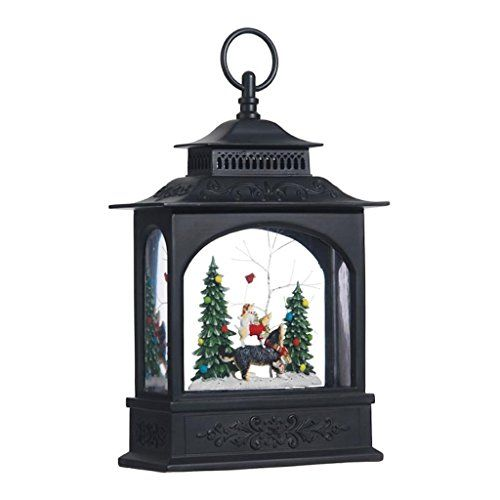 Lighted Puppy Dog and Christmas Tree Water Snow Glitter Globe Lantern Decor, Battery Operated with Timer