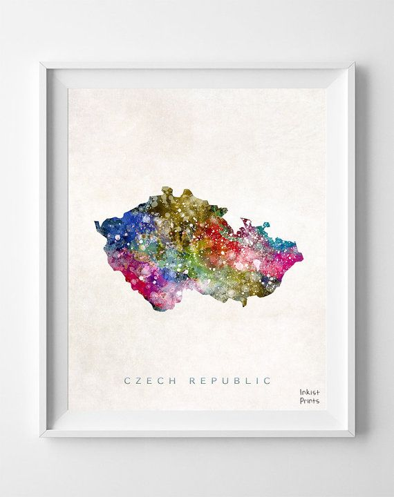 Czech Republic Map Watercolor Gift Home Town by InkistPrints, $11.95 - Shipping Worldwide! [Click Photo for Details]