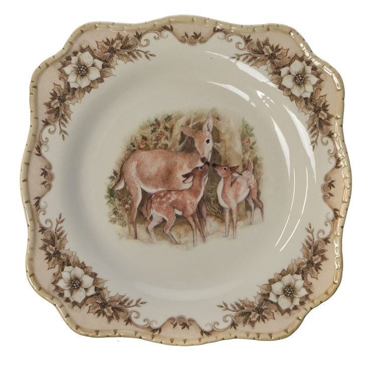 Stoneware Salad Plate - Deer   Woodland Christmas   Cracker Barrel Old Country Store - Cracker Barrel Old Country Store