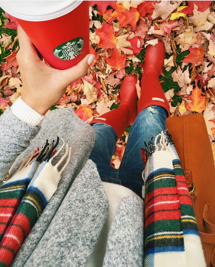 Sweater, Plaid Scarf, and Red Hunter Boots