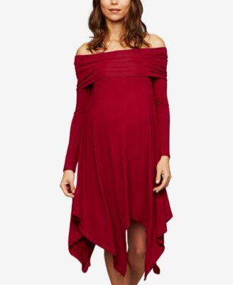 4f6f7c7296f Bcbgmaxazria Maternity Off-The-Shoulder Handkerchief-Hem Dress ...