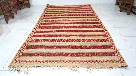 Moroccan Straw Mat 6 1ft X 11 1ft Berber Straw Mat Berber Rug Hasira Or Hassira Mat With Leather Trim Berber Mat Hassira Rug Berber Rug Straw Rug Rugs