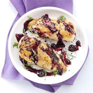Blueberry-Dijon Chicken:  4 servings; 1 chicken breast with 2 tablespoons sauce equals 331 calories, 7 g fat. 102 mg cholesterol, 31 g carbohydrate, trace fiber, 34 g protein. Diabetic Exchanges: 5 lean meat, 1-1/2 starch, 1/2 fat.