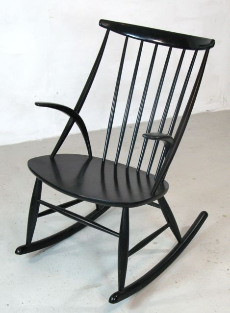 Black lacquer rocking chair or 'Gyngestol' designed by Illum Wikkelso for N. Ellerson Demark circa 1955