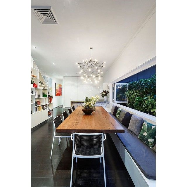Long dining table and cozy chairs in dining table can be used as social zone too! #interior #interiordesign #desaininterior #diningroom #diningroomdesign #desainruangmakan #ruangmakan #interiorruangmakan #diningroominterior #longdiningtable #socialzone