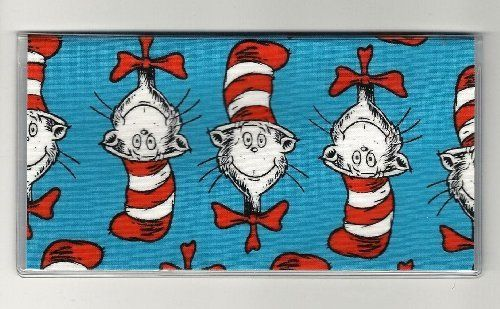"Dr. Seuss Cat In the Hat Blue Words Checkbook Cover by Tickled Pink Boutique. $5.00. The sturdy clear VINYL COVER encases a fabric bonded design. Measuring 6 1/4"" x 3 1/4"",  the cover fits all standard bank checkbooks and banking registers.  All checkbook covers come with a register flap and a duplicate check flap  just like the bank, only flashier.  These checkbook covers are a great alternative to the expensive covers offered by banks and online check companies."