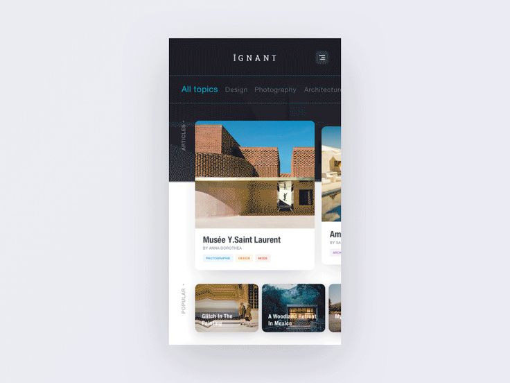 Hi guys  I made a new concept of the IGNANT's website.  Hope you like it.  If you like it, don't hesitate to Follow me   Instagram | Facebook