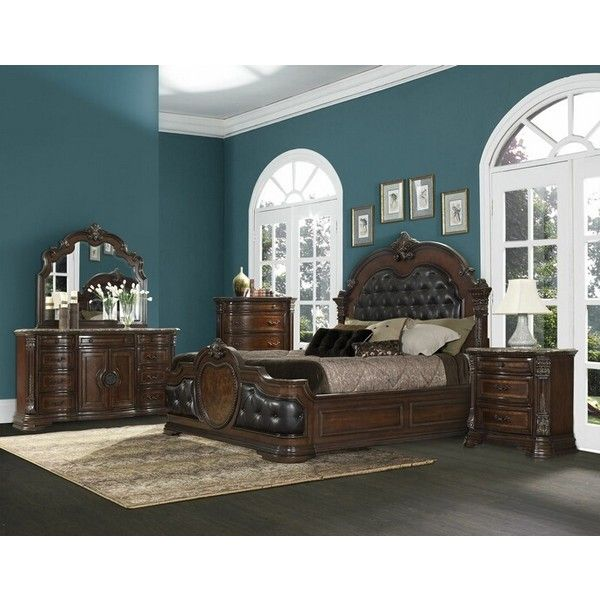 5 pc antoinetta collection warm cherry finish wood and dark brown... (20.535 DKK) ❤ liked on Polyvore featuring home, furniture, 5 pc bedroom set, cherry wood furniture, chocolate brown furniture, california king bedroom sets and cal king bedroom sets