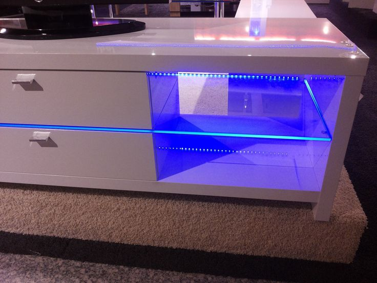 Blue LED Lights Edge Lit Glass Tv Table  Backlighting How to Install Bla...