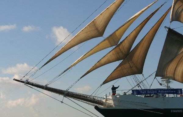 Stavros S Niarchos.  Sails out of Portsmouth, UK with Tall Ship Adventures.