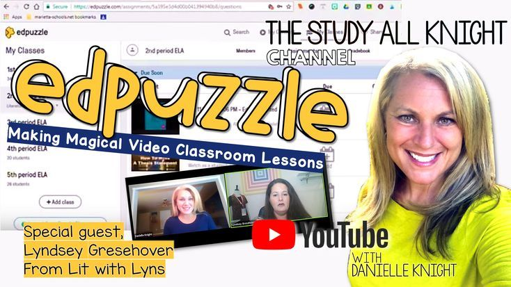 EdPuzzle, Making Magical Video Classroom Lessons | All subjects   and all grade levels | Edpuzzle got you curious? Well, it should! After this video from Study All Knight, teachers everywhere will be adding it to their tech game plan! Join me and special guest Lyndsey Gresehover, from Lit with Lyns for a live overview and demo. Edpuzzle can be accessed on a tablet or Chromebook! First, you pick a video, then you add your personal touches. Bonus! Teachers can track a student's progress…