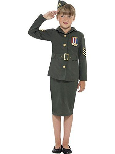 Smiffys Kids WW2 Army Girl Costume Jacket Skirt Attached Belt and Hat Size L Color Khaki Green 41104 ** Details can be found by clicking on the image.