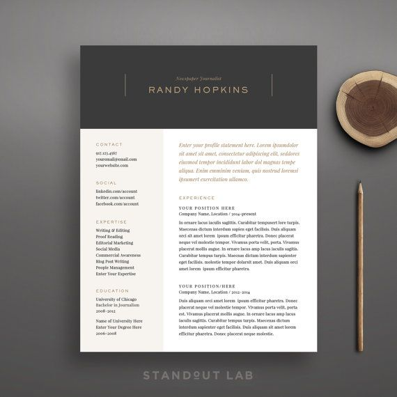 Resume Template and Cover Letter Template van StandoutLab op Etsy