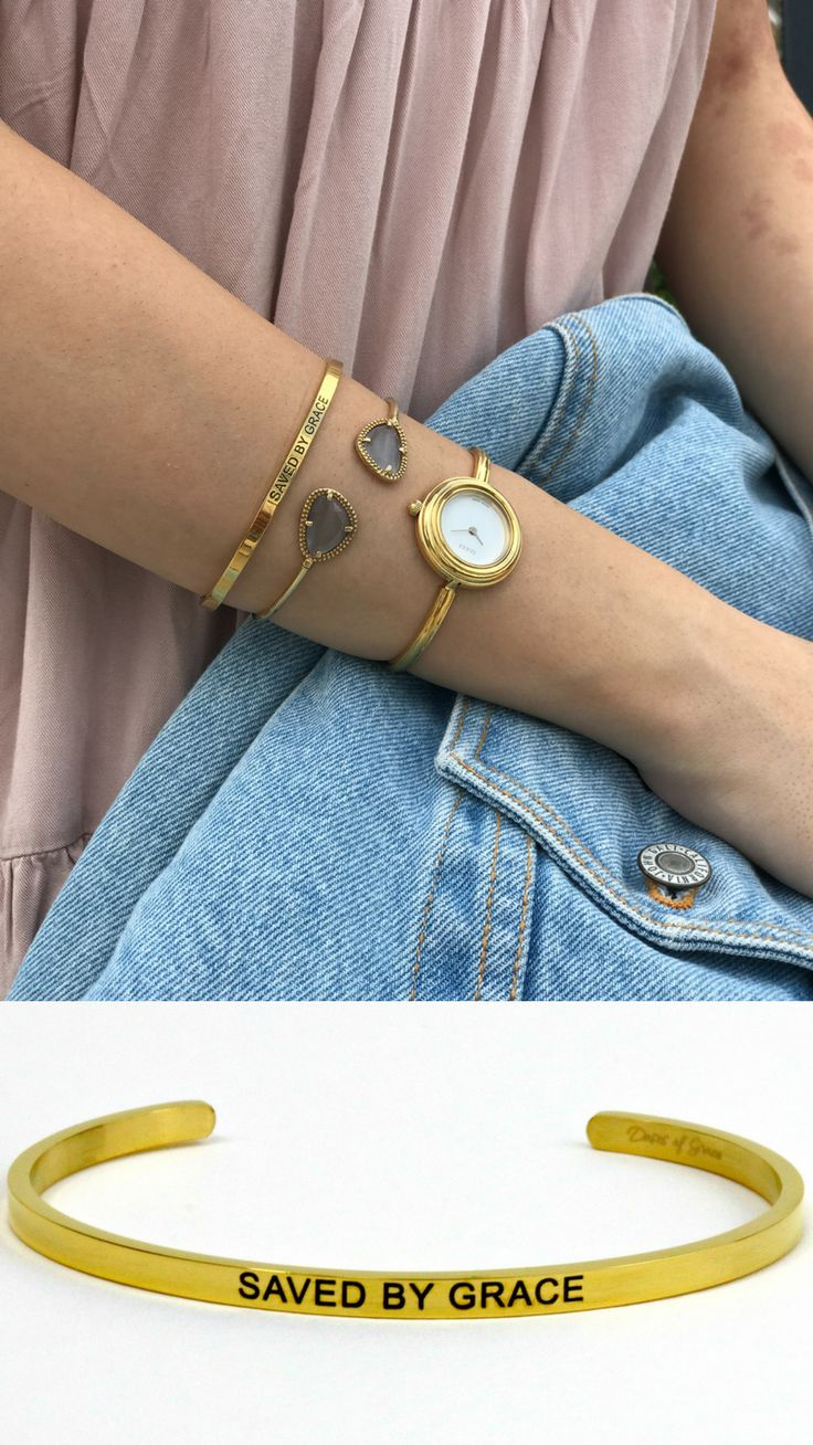Wear your faith with this Saved By Grace bracelet. Christian jewelry | stackable bracelets | Faith | #faith #christian #jewelry
