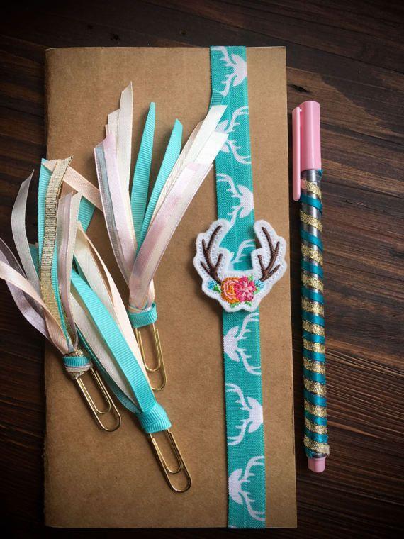 Antlers And Flowers Midori Notebook Planner Band Bookmark Set Decorative Ribbon paperclips Pastels Deer Elk Reindeer Antlers Alaska Gift set