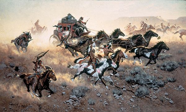 """Armed men on a stagecoach engage in a running battle with attacking Indians in Frank C. McCarthy's """"The Run to the Way Station."""" Such attacks weren't just the stuff of Hollywood films and serial fiction. (Painting: © The Greenwich Workshop, Seymour, Conn.; Stagecoach movie poster: Heritage Auctions, Dallas)"""