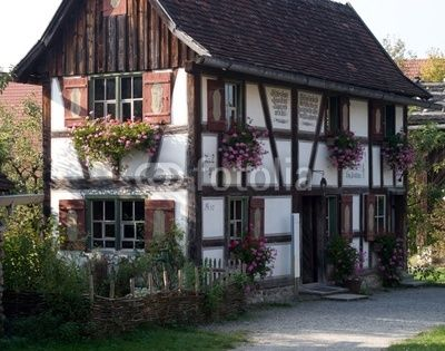 Old bavarian style farm house in the Allgau region of Germany.
