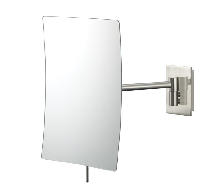 "Brushed Nickel Minimalist Wall Mount 9 1/2"" High Mirror -"