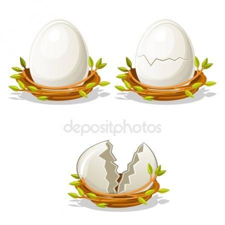 Télécharger - Dessin animé drôle oeuf dans le nid d'oiseaux de brindilles — Illustration #136687544