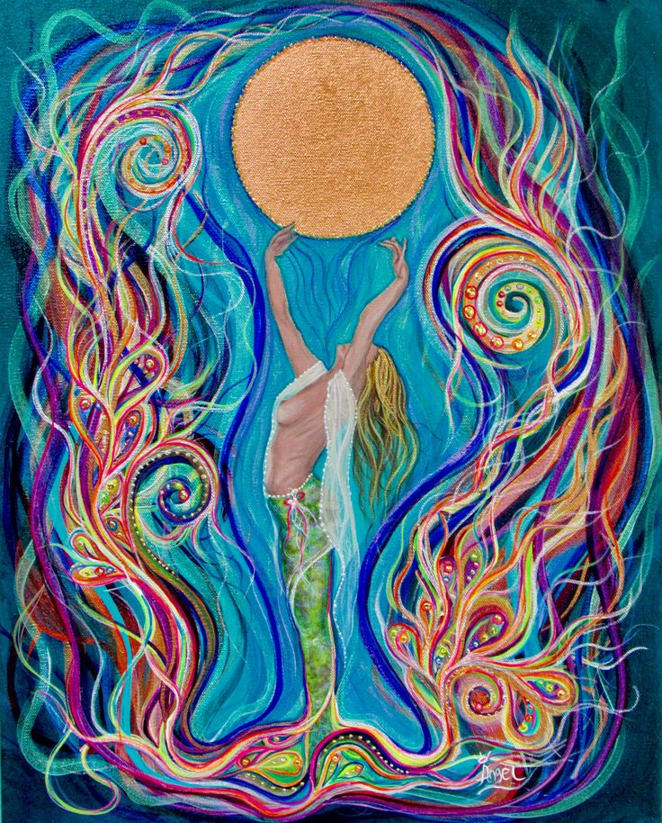 """""""Moon Dance"""" by Angel Fritz  Acrylic, metal leaf and Swarovski detail on stretched canvas 16"""" x 20""""  - Available  www.Angel4joy.com"""