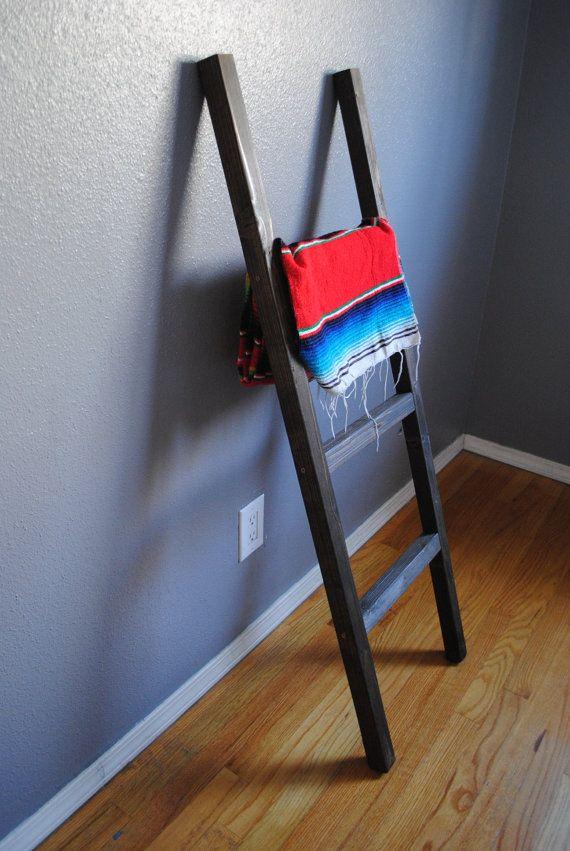 Rustic Blanket / Towel Ladder Rack Slim by BrightLoft on Etsy #home #decor #rustic  #living #room #bedroom #bedside #bedroom #furniture   #blanket #ladder #towel #towel ladder #diy #storage