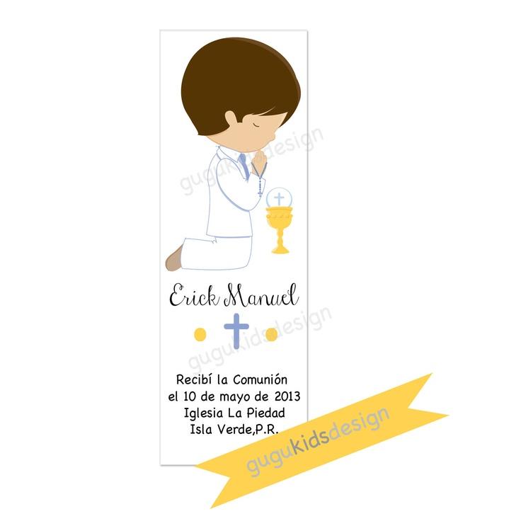 DIY Printable- BOY First  Communion Favor Bookmark