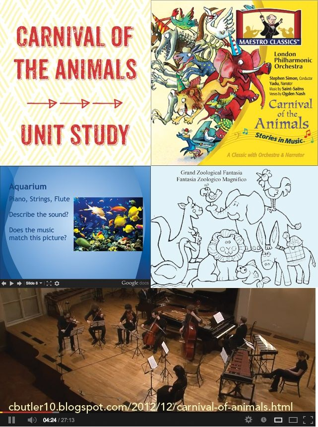 Carnival of the Animals unit study: great resource includes free printable worksheets, listening map and powerpoint presentation