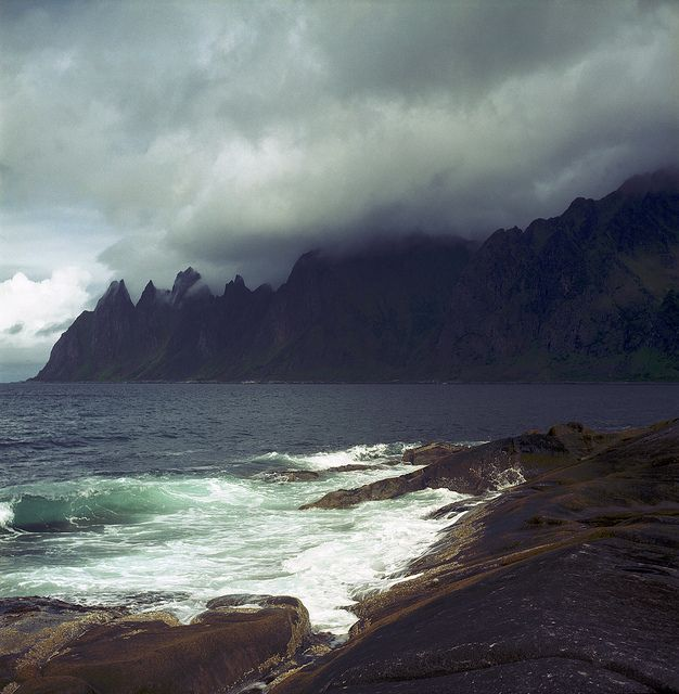 Enlightenment, via Flickr. | Ersfjorden - Devils jaws; Norway: Places Travel, Paintings Inspiration, Severance Natural, Lost, Enlightenment, Zoom Photo, The Sea, Stormy Sea, Photography Ideas