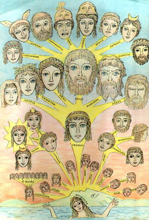 Family tree of the Greek gods, beginning with the Titan Cronus, passing onto Zeus and his siblings (the first of the Olympians)