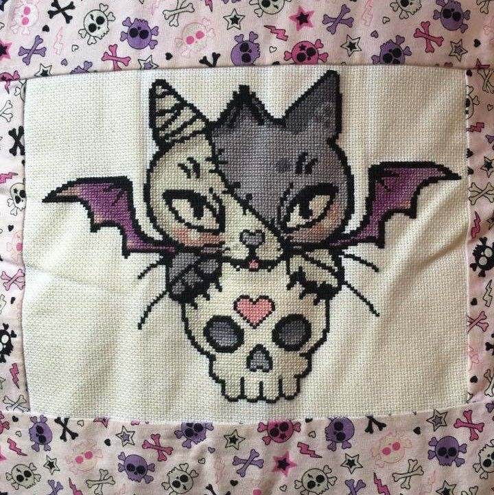 Vamp a Kitty cross stitch stitched by M. Easters  Artwork by Miss Cherry Martini