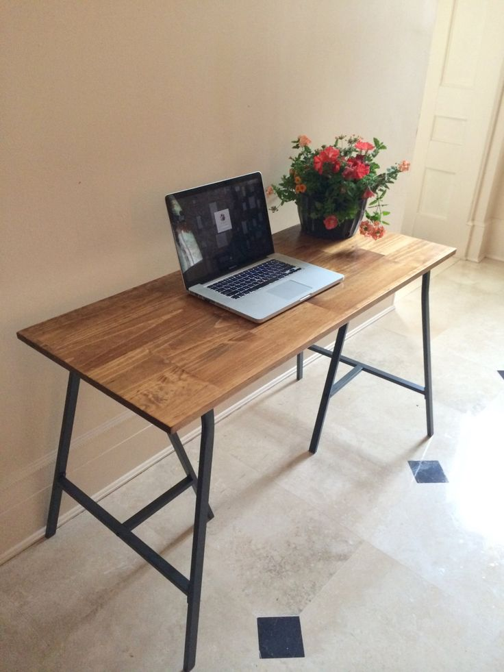 Desk Great As Wood Desk Office Vanity Or Small Dining