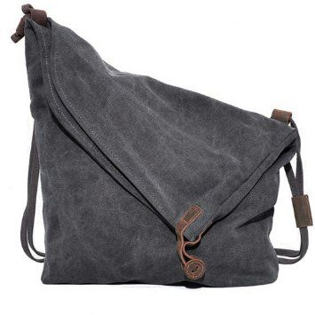 Coofit Canvas Unisex Tasche retro literarischen Hochschule Stil Schultertasche Messenger Bag koreanische Version C5069 (grau)
