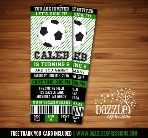 Printable Soccer Ticket Birthday Invitation | Fútbol Ticket | FREE thank you card included | Sports Ticket | Digital File | Boys Birthday Party Idea | Baby Shower Invitation |  Banner | Cupcake Toppers | Favor Tag | Food and Drink Labels | Signs |  Candy Bar Wrapper | www.dazzleexpressions.com