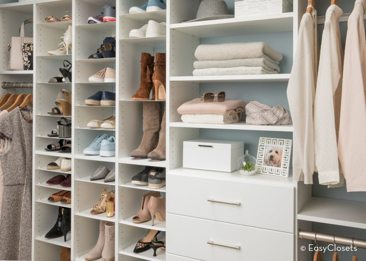 EasyClosets white closet organizing system. #AD