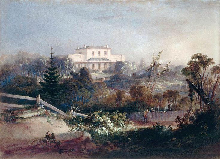 Rosebank,Woolloomooloo,in Sydney ~ the residence of James Laidley.Painted by Conrad Martens in 1840.A♥W