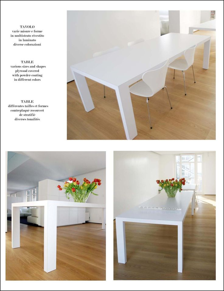 Table Space Table measures: 200 x 90 x 6 cm; plywood covered with powder-coating, available in different colors.