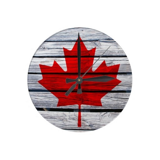 Canadian Flag Rustic Wood Clocks