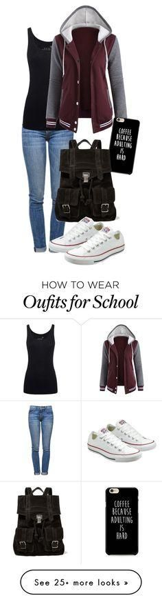 """""""school days"""" by deliag on Polyvore featuring Current/Elliott, Juvia, Proenza Schouler and Converse"""