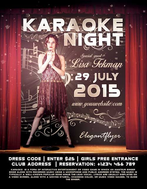 Free Karaoke Night PSD Flyer Template - http://freepsdflyer.com/free-karaoke-night-psd-flyer-template/ The Free Karaoke Night PSD Flyer Template was designed to promote your next DJ party and club event. Promote your special club DJ! This print ready free flyer template includes a 300 dpi print ready CMYK file. All main elements are editable and customizable.   #Bar, #Club, #Event, #Karaoke, #Lounge, #Party, #Pub, #Show