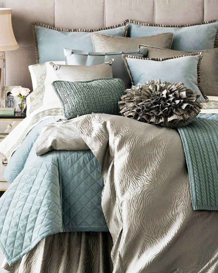 Aqua Silver Bedding Little House Pinterest Silver