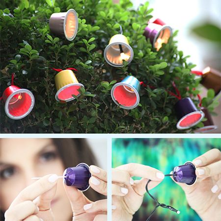 colourful tree lights with Nespresso capsules and fairy lights